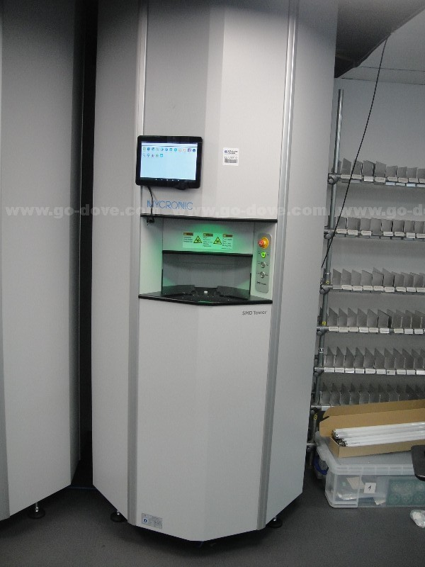 Mycronic SMD Tower buffer storage unit The SMD Tower is very space efficient and